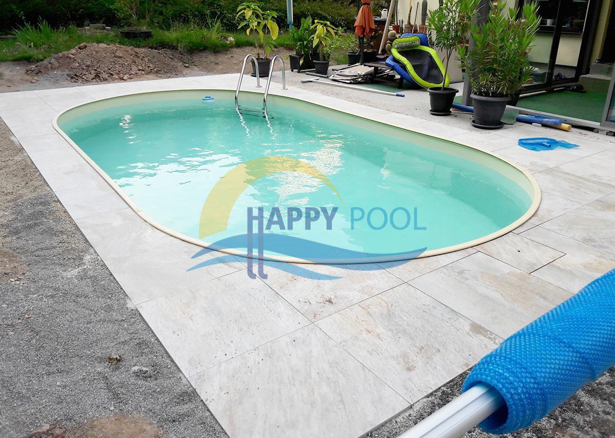 Happypool - Piscina îngropată ovală cu pereți din oțel galvanizat